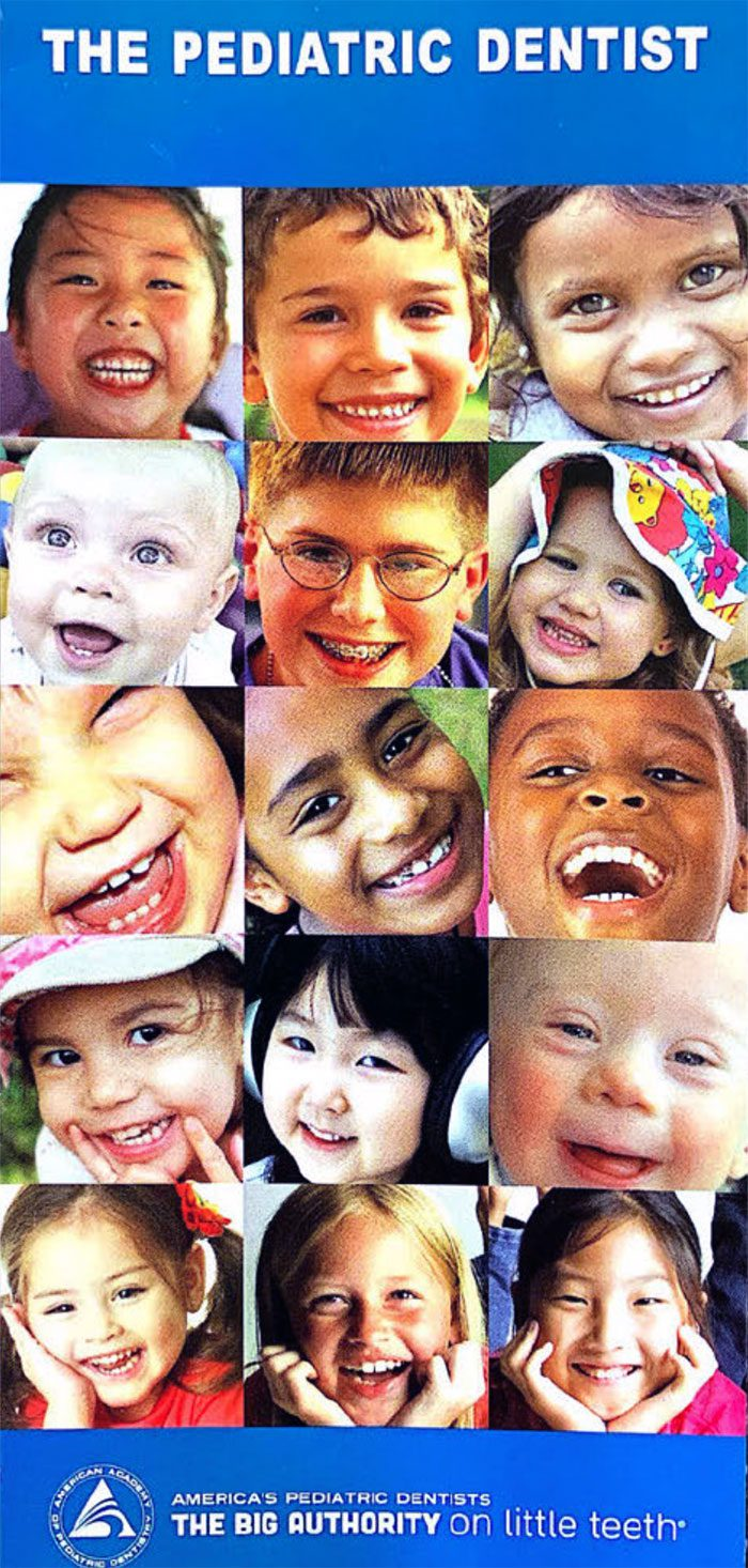 An image from the cover of a Pediatric Dentist showing many young smiling faces